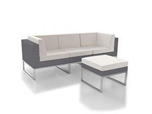 ARTELIA Alivera XS Polyrattan Lounge Ecke, Gartenmöbel-Set Sitzgruppe für Garten, Terrasse und Wintergarten, Rattan Terrassenmöbel Couch grau