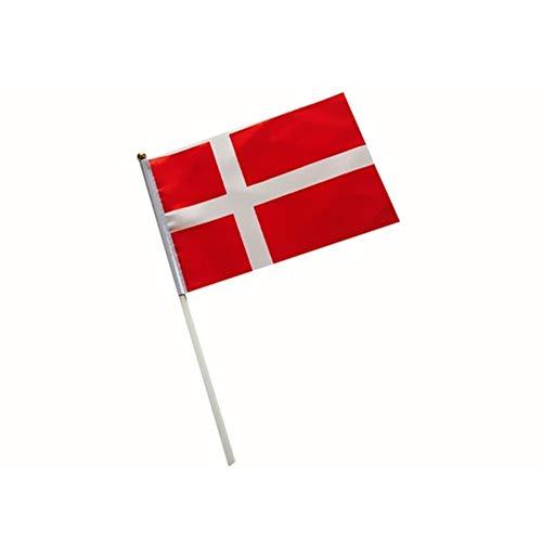 DierCosy Dänemark Stock-Flagge Dänemark Hand Waving Flags Mini Nationalflagge Hand 14 * 21cm Dekor für Büro-Schreibtisch-Garten Parades Bar Schule Sport Veranstaltungen Festival Feste 1PC