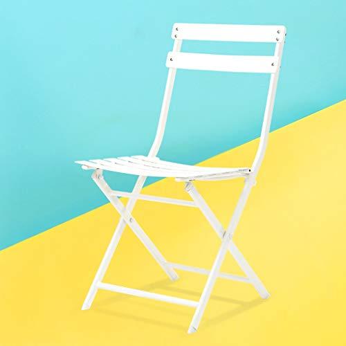 Jizhen Klappstuhl Bürostuhl Esszimmerstuhl Mode Einfache Schmiedeeisen Klapp Esszimmerstuhl Europäischen Balkon Freizeit Stuhl Eisen Metall Stuhl (Farbe : Weiß)