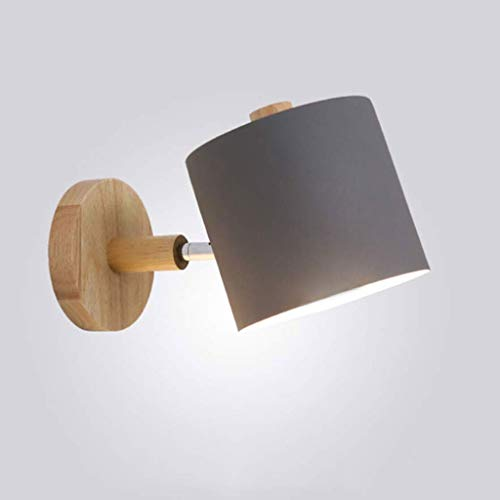 NHX Nordeuropa Lichter-Wandleuchte E27 Lampenfassung Led Hardwired Erröten-Einfassung Wandlampe Einstellbar Holz Schlafzimmer Bett Leuchtmittel 15x22cm