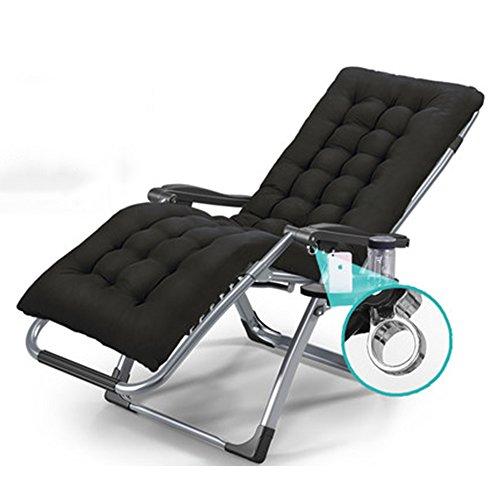 ZHILIAN® Rückenlehne Lounge Stuhl Klappstuhl Bürostuhl Strandkorb Mutterschaft Stuhl Balkon Stuhl Lager 200KG (Farbe : SCHWARZ)
