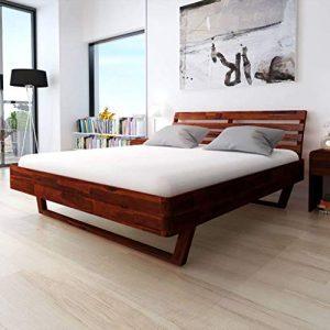 ROMELAREU Bettgestell 180 x 200 cm Akazienholz Massiv Möbel Betten & Zubehör Betten & Bettgestelle