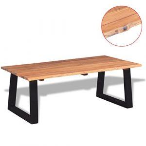 FZYHFA Couchtisch aus massivem Akazienholz 110x 60x 40cm braun und schwarz