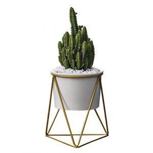 CatcherMy Keramischer Blumentopf mit Geometrische Metall Pflanzenständer Dreieckige Ständer Halter für Wohnzimmer/Schreibtisch – ⌀ 11 cm – Moderner minimalistischer Stil