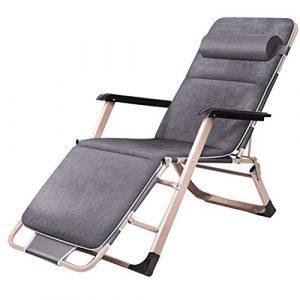 Liegestuhl HAIYU- Schaukelstühle Liege Klappstuhl Klappstuhl Bürostuhl Mittagspause Siesta Hause Stuhl Gartenstuhl -Ideal für Outdoor Patio Zubehör (Farbe : Gray with pad)