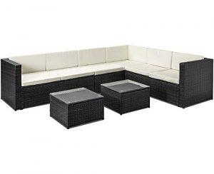 Merax Gartenmöbel Set Polyrattan Lounge Ecksofa 5 Stück Sitzgruppe Balkon möbel Sofa-Garnitur Schwarz Essgruppe mit Kissen (Schwarz, 3+2 Stück)
