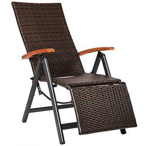 SSITG Relaxsessel Poly Rattan Aluminium Gartenstuhl mit Fußstütze Liegestuhl Garten
