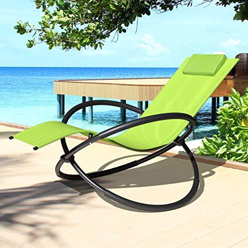 Swing & Harmonie Relaxliege Gartenliege Faltbare Sonnenliege Schaukelliege Liegestuhl Schaukelstuhl Klappbar Schaukelsessel inkl. Nackenkissen (Limegreen)