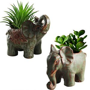Anpatio Mini-Tier-Blumentopf Retro Keramik Elefant Sukkulenten Pflanzgefäß Schreibtisch Blumentopf Fee Garten Haus Garten Dekoration 2er Set