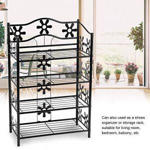 Zoternen 4-stöckiger Eisen-Pflanzenständer, Elegante Regale für Topfpflanzen, Verkaufsständer, Schuhregal, Aufbewahrung, Organizer für den Innen- und Außenbereich
