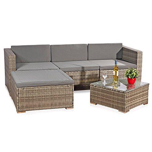 Melko Ecksofa 5tlg. Lounge Rattanmöbel Sitzgruppe mit Tisch und Polster aus Polyrattan für Garten Terrasse, ca. 209 x 150 cm, grau