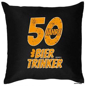 Goodman Design  Witziges Geschenk zum 50. Geburtstag – Kissen – 50 Jahre Bier Trinker – Zierkissen für Couch und Bett!