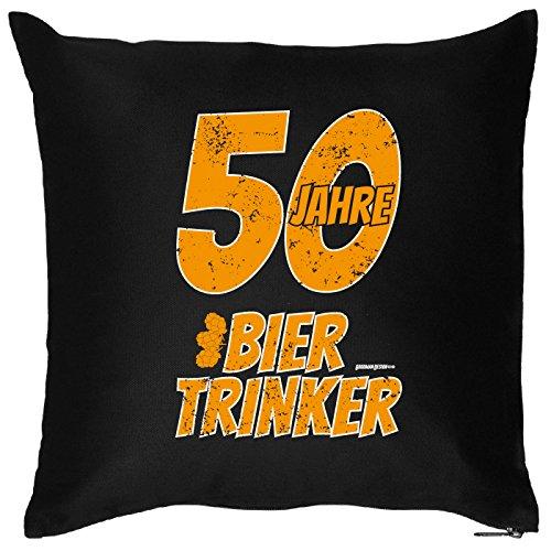 Goodman Design  Witziges Geschenk zum 50. Geburtstag - Kissen - 50 Jahre Bier Trinker - Zierkissen für Couch und Bett!