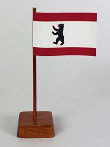 Set 2 Stück Mini Tischflagge Berlin 67×44 mm mit Ständer aus Holz, Gesamthöhe ca. 130 mm Tisch Flagge Fahne