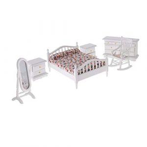 Lcjtaifu Möbel 1: 12 Puppenhaus Miniatur Weiß Holz Schlafzimmermöbel Bett Kommode Spiegel