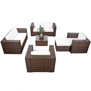 XINRO® erweiterbares 20tlg. Polyrattan Lounge Gartenmöbel Sofa Set XXXL – braun-Mix – Garnitur Sitzgruppe Sitzgruppe Loungemöbel Set – inkl. Lounge Sofa + Sessel + Hocker + Tisch + Kissen