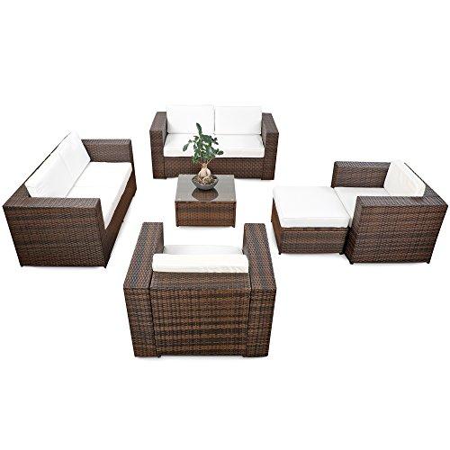 XINRO® erweiterbares 20tlg. Polyrattan Lounge Gartenmöbel Sofa Set XXXL - braun-Mix - Garnitur Sitzgruppe Sitzgruppe Loungemöbel Set - inkl. Lounge Sofa + Sessel + Hocker + Tisch + Kissen