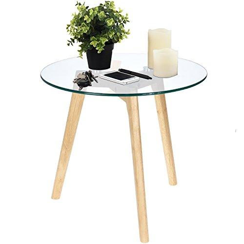 Multistore 2002 Beistelltisch rund 50xH45cm, Natur/Transparent, Glastisch Couchtisch Wohnzimmertisch Nachttisch