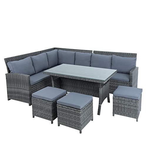 ESTEXO Polyrattan Lounge Set in luxuriöser Optik bestehend aus 1 Couch, 3 Hockern und 1 Tisch, inklusive Sitzpolster, grau