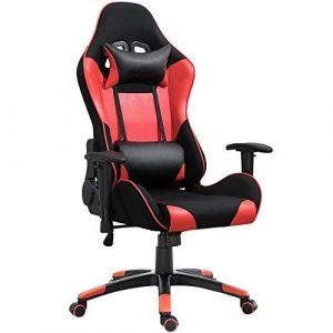 DSFSGFG Verstellbarer Drehstuhl Rot Schwarz Ergonomischer Bürostuhl mit hoher Rückenlehne und großer Rückenlehne