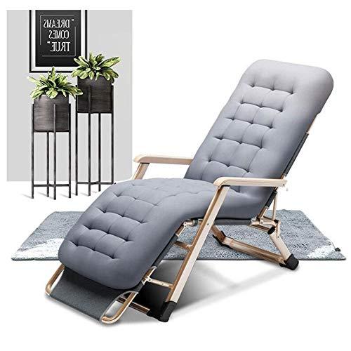 CYSHAKE Verstellbarer Klappgarten Sonnenliege, Außenterrasse Liegender Bürostuhl, Aufsatzliege for Innenhof-Pool-Liegewiese mit Kissen (Color : Grey mat)