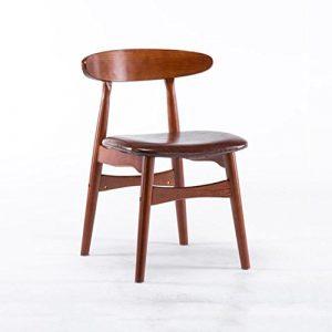Klapptisch XUERUI Stuhl Aus Massivem Holz Rückenlehne Stuhl PU Weiches Kissen Familie Esszimmerstuhl Schlafzimmer Schreibtischstuhl Cafe (Farbe : Rötlich-braun)
