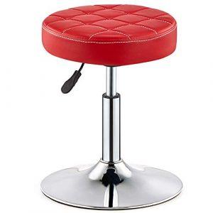 MG-GRD Zahnarztstuhl Barhocker Friseurstuhl Bürostuhl Schönheitshocker Arztbehandlungshocker, höhenverstellbar, 360 ° drehbar,Red