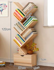 Bücherregal-Baum-Standplatz Kleiner Fußabdruck-Multifunktions Einfacher und Moderner (Farbe : Yellow Grain Wood.)