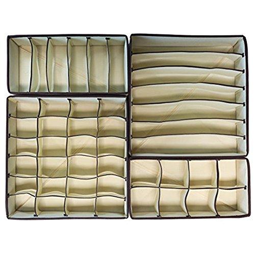 LAAT Faltbare Unterwäsche Aufbewahrungsbox Multifunktionale Kleidung Schrank Organizer Schubladenteiler für Unterwäsche BHS Socken Krawatten Schals Beige Set von 4 (1) (A) (A)