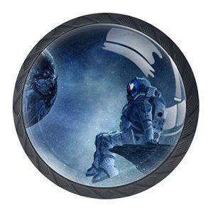 Bennigiry Schubladenknauf aus Kristallglas, mit buntem Raum, Galaxie-Druck, ergonomisch, 30 mm, rund, Möbelgriff für Küche, Kommode, Schrank, Kleiderschrank, 4 Stück