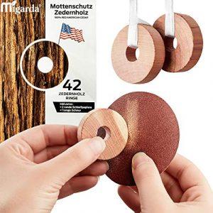 Migarda – Zedernholz Mottenschutz – 42x Ringe – 100% Bio – Mottenfalle zum Schutz vor Kleidermotten – Holz-Ringe für Kleiderschrank – Chemiefreie Mottenabwehr – inkl. E-Book