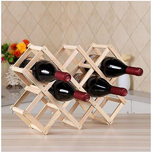 icyang Holz rot faltbar Wein Rack 3/6/10Flasche Halter Küche Bar Restaurant Wein Ständer Display Ablage Organizer L-10 bottel Burlywood