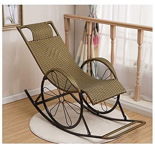 WJS Rattan Schaukelstuhl Siesta Rest Chair mit Armlehne Sofa Schlafzimmer Wohnzimmer Komfortable Lazy Chair im Freien 45 × 122 cm (Style : B)