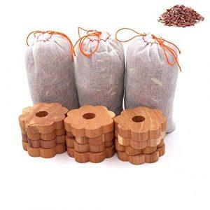 Kyerivs Zeder Mottenschutz Set mit Natürlicher Geruchschutz,12 Stück zedernholzringe mit 3 Stück Zedernholztaschen ür den Kleiderschrank, Mottenringe gegen Kleidermotten