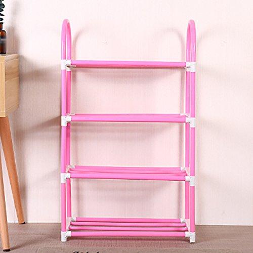 Schuhablage YXX Metall Schuhregal 4 Tiers Shoebox Blumenständer Staubdicht Lagerung Regal Kunststoff Montage Schlafzimmer Foyer Wohnheim Wohnzimmer Büro Garage (Color : Pink)