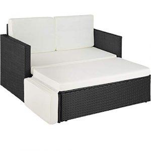 TecTake 800693 Poly Rattan Lounge Set, 2 Sitzer Sofa mit Hocker, Ottomane, inkl. Dicke Auflagen – Diverse Farben (Schwarz | Nr. 403124)