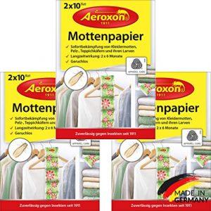 Aeroxon – Mottenpapier – 3×20 Stück – gegen Motten, Käfer und Larven – Mottenschutz für ihre Kleidung im Kleider-Schrank