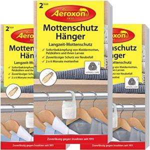 Aeroxon Mottenschutz-Hänger – 3×2 Stück – Verlässliche, starke und schnelle Mottenfalle gegen Kleidermotten – Mottenschutz für Kleiderschrank