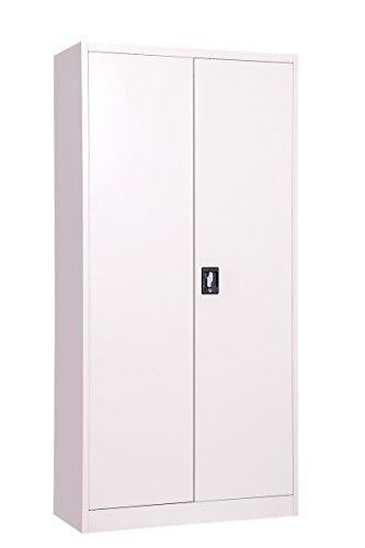 MMT Möbel Designs grau Stahl hoch 2Türen Bücherregal Aktenschrank, 2abschließbare Türen-1850mm-Professionelle Grade-400mm tief-4Interne Verstellbare Regalböden