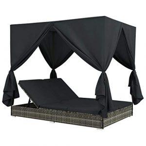 Festnight- Outdoor-Lounge-Bett mit Vorhängen Poly Rattan Sonneninsel mit Sonnendach Garten Sofa Gartenliege | Lounge Liege Set Gartenmöbel Terrassen Strandkorb Grau
