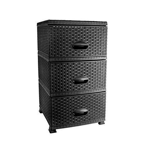 MyShop24h Kommode in Rattan Optik Regal aus Kunststoff mit 3 Schubladen 37,5 x 42x 69,5 cm Schwarz
