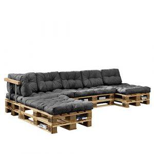 [en.casa] Auflagen für 'Euro Paletten Sofa' 4X Sitz- & 6X Rückenkissen Grau Kissen