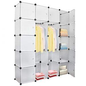 Hengda 20 Würfel DIY Regalsystem Kleiderschrank Offen Kunststoff Garderobe mit Türen Garderobenschrank Weiß 180 * 142 * 37CM
