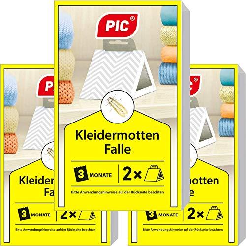 PIC Kleider-mottenfalle - Dreierpack = 6 Stück - Mittel gegen Kleidermotten, geeigneter Mottenschutz für den Kleiderschrank und sonstiger Lagerung von Kleidung